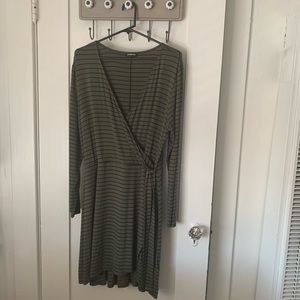 EXPRESS Olive and black stripe wrap dress
